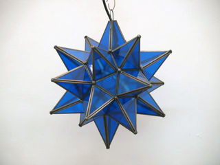 Mexican Blue Glass Star Lantern: Small