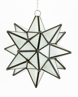Mexican White Glass Star Lantern: Large