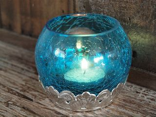 Crackled Tea Candle Holder: Turquoise