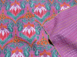 Indian Dreams Kantha Quilt: Purple