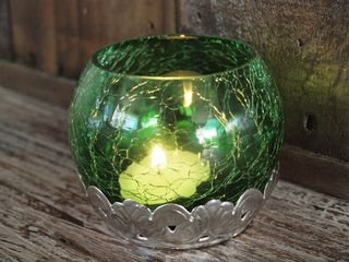 Crackled Tea Candle Holder: Green