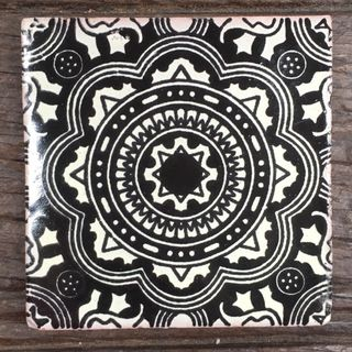 Hand Crafted Mexican Talavera Tiles - Black and white talavera tile