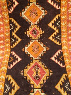 Azilal Carpet: Orange & Black