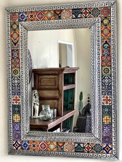 Mexican Tin & Tile Mirror: large