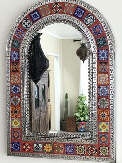 Arch Mexican Tin & Tile Mirror: orange
