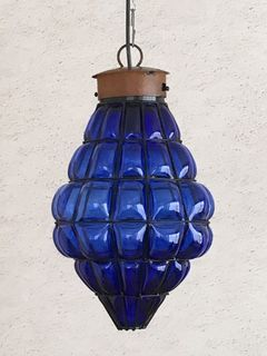 Mexican Handblown Lantern: blue