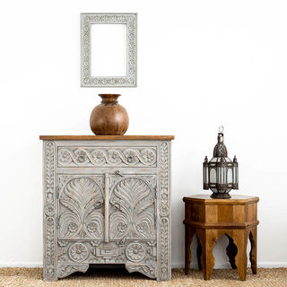 Majuli Hand Carved Sideboard Grey