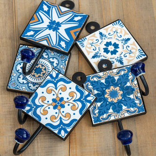 Blue & White Tiled Wall Hook: Single