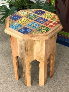 Tiled Mango Wood Tea Table