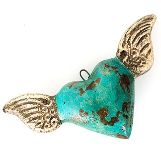 Winged Hearts Turquoise Small