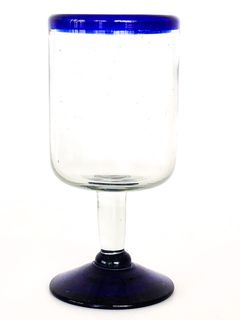 Blue Rim Port Glass