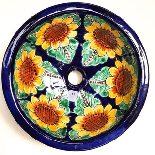 Sunflower Round Talavera Handbasin Medium