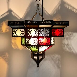 Moroccan Star Lantern: large coloured