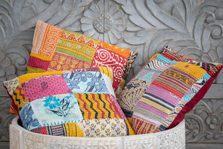 3 Patchwork Kantha Cushion Covers