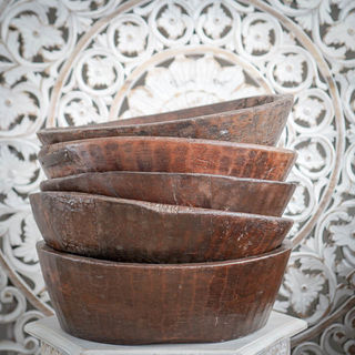 Large Teak Wooden Parat Bowl