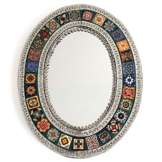 Oval Mexican Tin & Tile Mirror: Green
