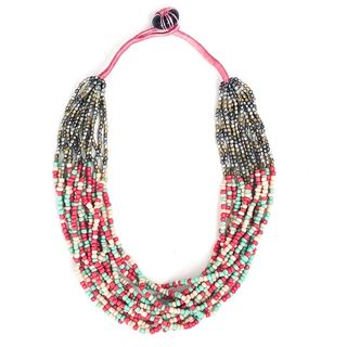 Boho Beaded Necklace Pastel