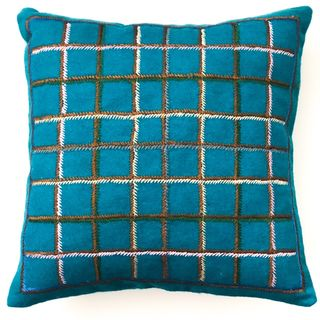 40cm Woollen Cushion Blue