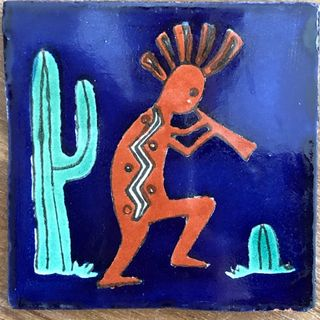 Kokopelli Tile Blue