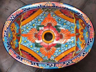 Hand painted Mexican Basin 10: Small