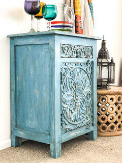 Bohemian Bedside Table Blue Furniture Lighting Decor