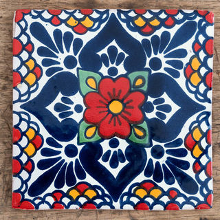 Large Flores Roja Tile
