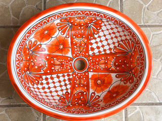 Large Hand Painted Mexican Basin 8
