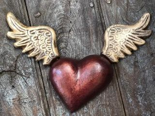 Large Winged Wall Heart Bronze