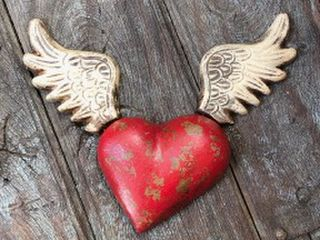 Large Winged Wall Heart Red