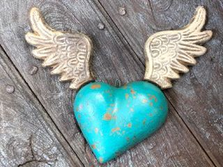 Large Winged Wall Heart Turquoise
