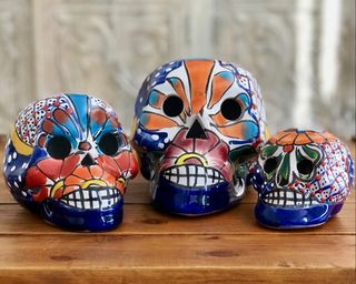 Set of 3 Day of the Dead Skulls