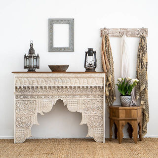 Boho Carved Console White