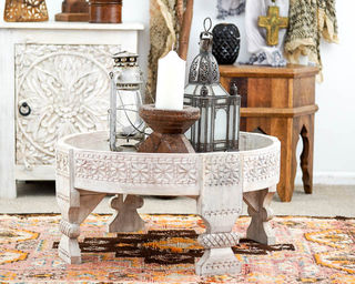 Whitewashed Chakki Table