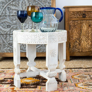 Tall Whitewashed Chakki Table