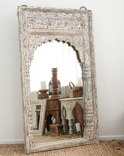 Boho Mirror Whitewashed