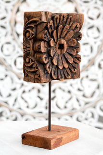 Rustic Hand Carved Indian Flower 3