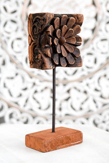 Rustic Hand Carved Indian Flower 6