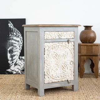 Goa Bedside Table Grey/White
