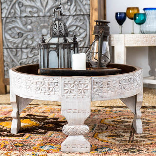 Whitewashed & Natural Chakki Table