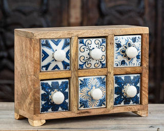 Boho Chic 6 Ceramic Spice Drawers