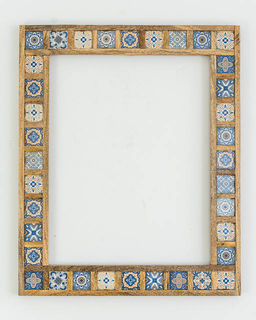 Blue & White Tiled Mirror