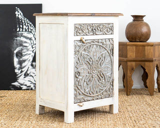 Bohemian Bedside Table Grey/White