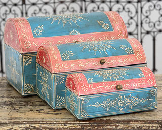 Set of 3 Treasure Boxes Blue
