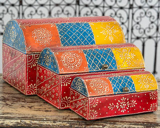 Set of 3 Treasure Boxes Red
