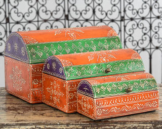 Set of 3 Treasure Boxes Orange