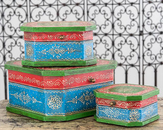 Set of 3 Boho Boxes Blue
