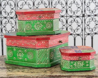 Set of 3 Boho Boxes Green