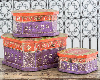 Set of 3 Boho Boxes Purple