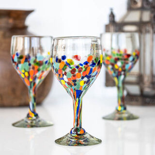Half Smooth Confetti Wine Glass