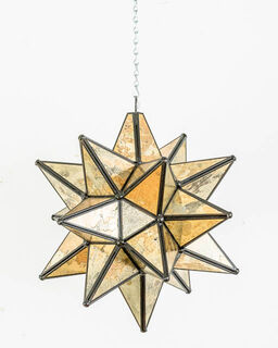 Mexican Gold Glass Star Lantern: Large